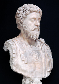 Marble bust of Marcus Aurelius discovered at the site of the Roman villa of Chiragan (Martre-Tolosane, Haute-Garonne) c. 170-180 Inv. Ra 61b © J.-F. Peiré